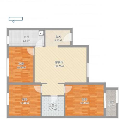 康润家园3室2厅1卫1厨103.00㎡户型图