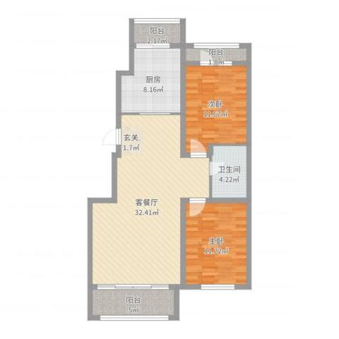 宏运・凤凰新城二期2室2厅1卫1厨96.00㎡户型图