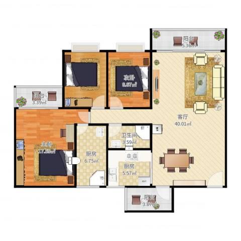 汇豪花园2室1厅1卫2厨129.00㎡户型图