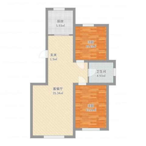 香墅湾庄园2室2厅1卫1厨87.00㎡户型图
