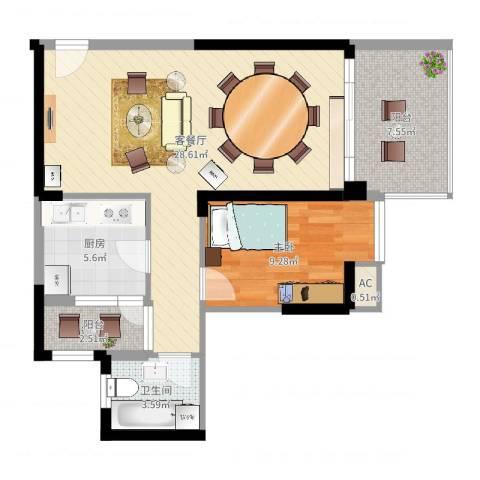 星海大第1室2厅1卫1厨72.00㎡户型图