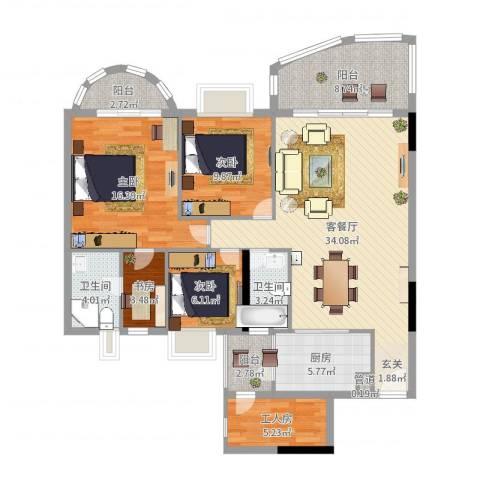 车陂惠苑楼4室2厅2卫1厨128.00㎡户型图