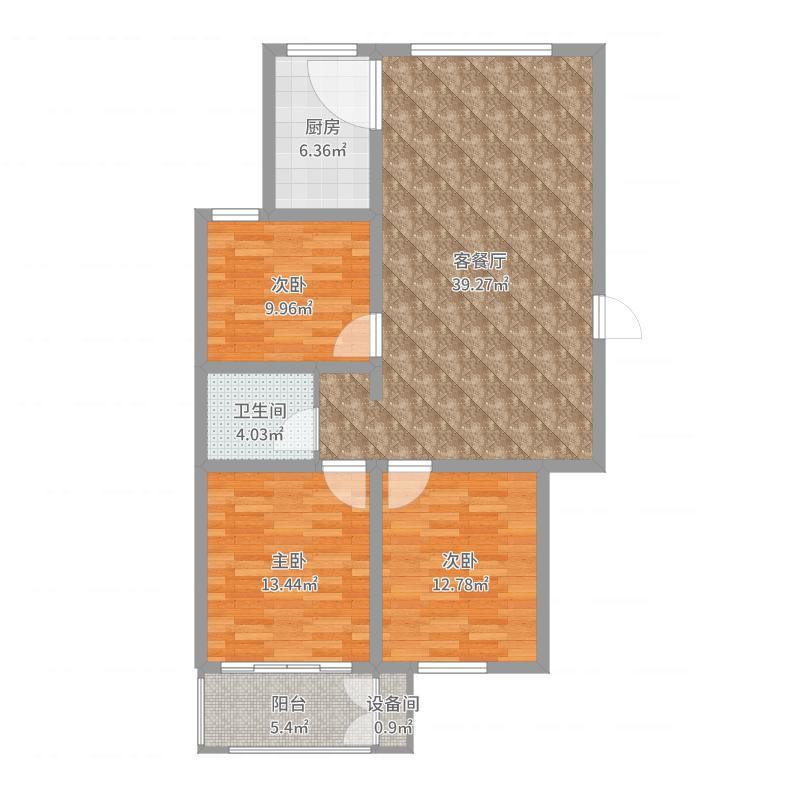 峰景香滨城114.37㎡户型3室3厅1卫1厨户型图