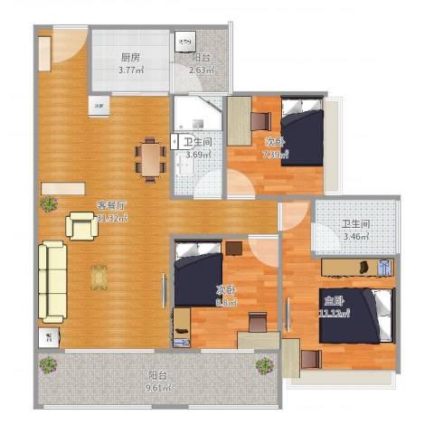 保利亚奥北苑3室2厅2卫1厨102.00㎡户型图