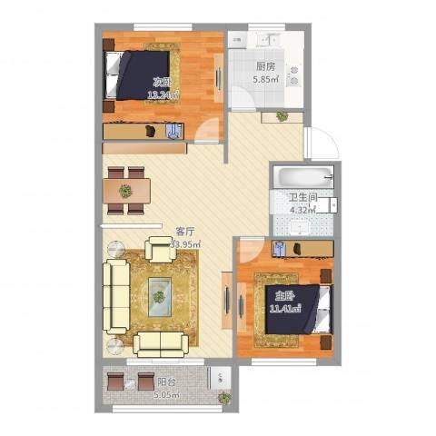 万国商城2室1厅1卫1厨92.00㎡户型图
