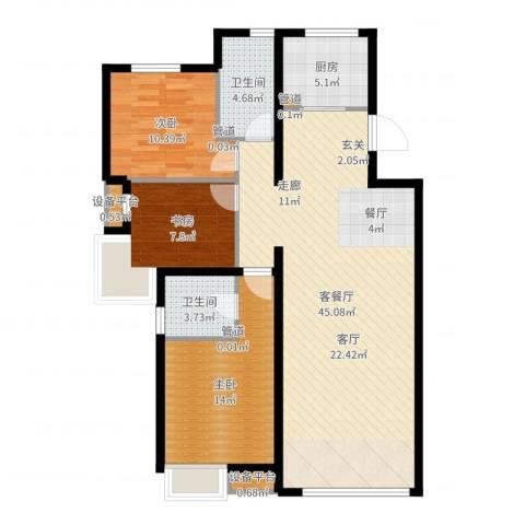 中国水电・海赋外滩3室2厅2卫1厨115.00㎡户型图