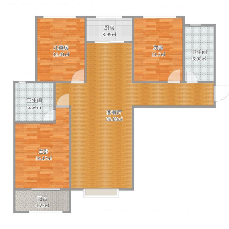 1号-1单-1204户 三室两卫119平米户型图