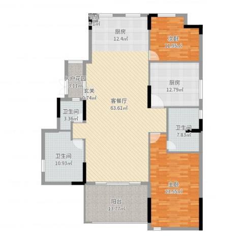 劲嘉金棕榈湾2室2厅3卫1厨189.00㎡户型图
