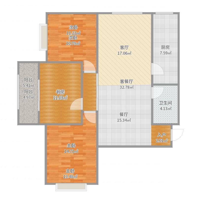 和平壹号3号楼2单元1204户装修设计方案户型图