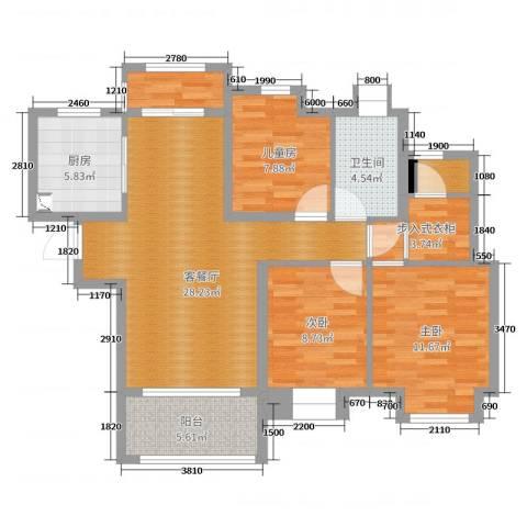 汉港凯旋城3室2厅1卫1厨100.00㎡户型图