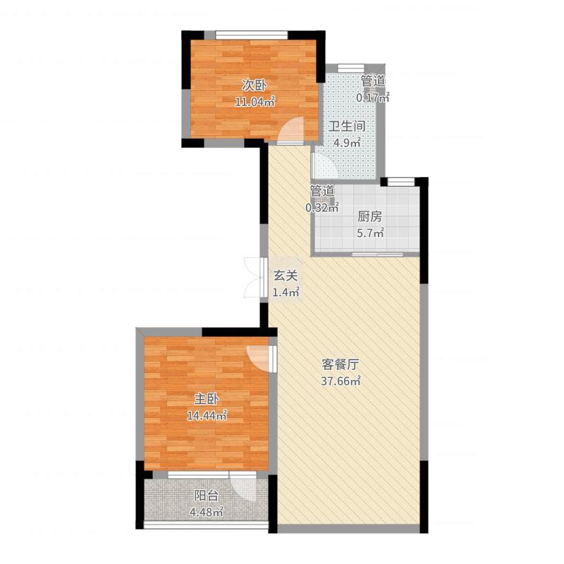 绿城玉兰花园13.00㎡2号楼B3户型2室2厅1卫1厨-副本户型图