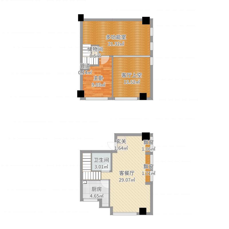 晟宝龙广场59.45㎡LOFT河景墅级公寓精装A户型2室2厅1卫1厨户型图