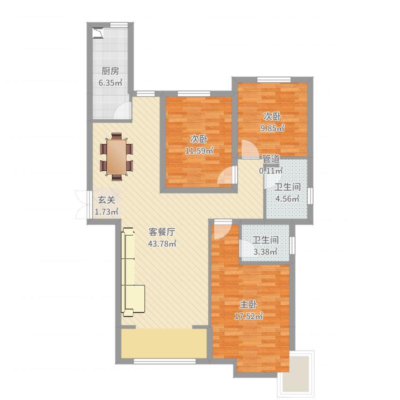 凰家公元128.00㎡D户型3室3厅2卫1厨-副本户型图