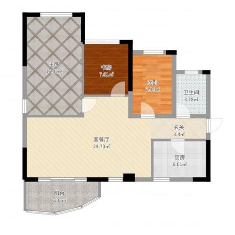 金茂华庭3室2厅1卫1厨96.00㎡户型图