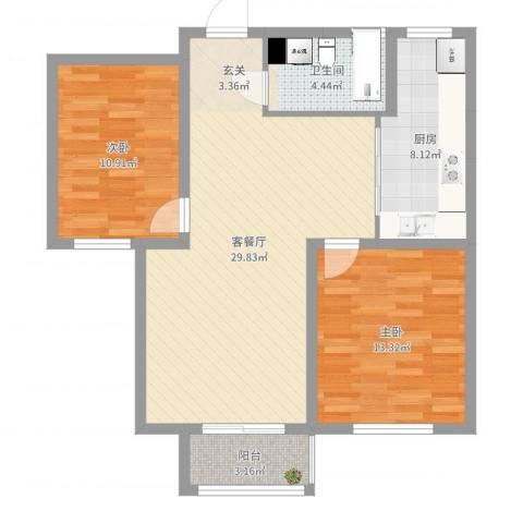 碧水庄园三期2室2厅1卫1厨87.00㎡户型图
