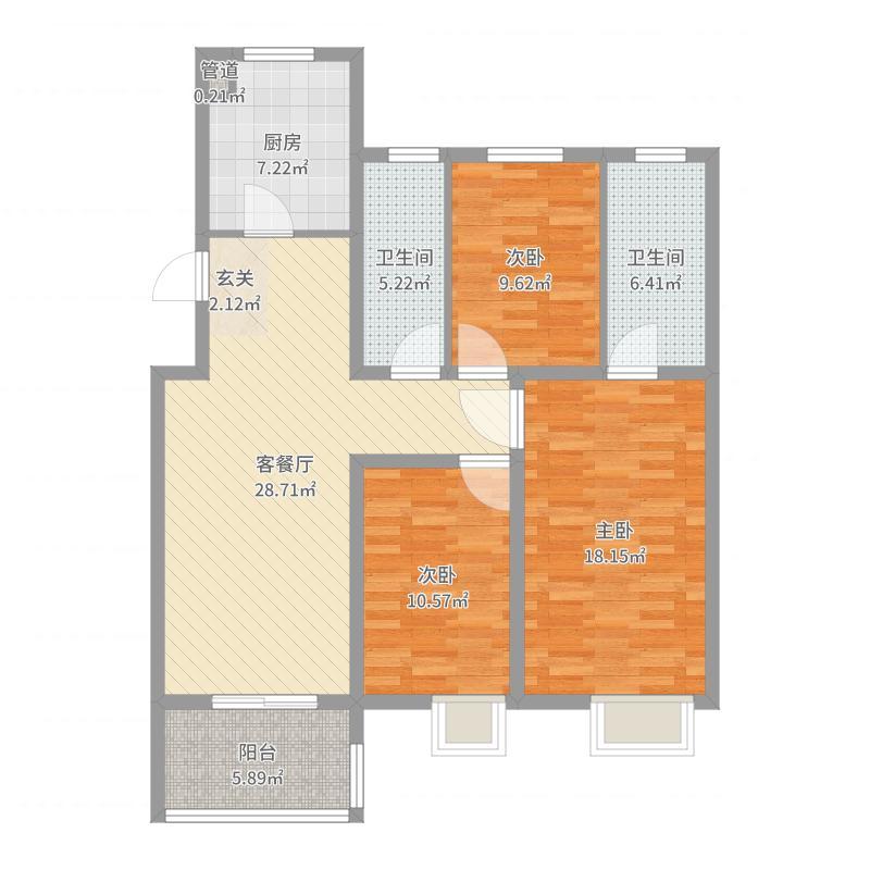 中海双湾锦园115.00㎡6#标准层户型3室3厅2卫1厨户型图