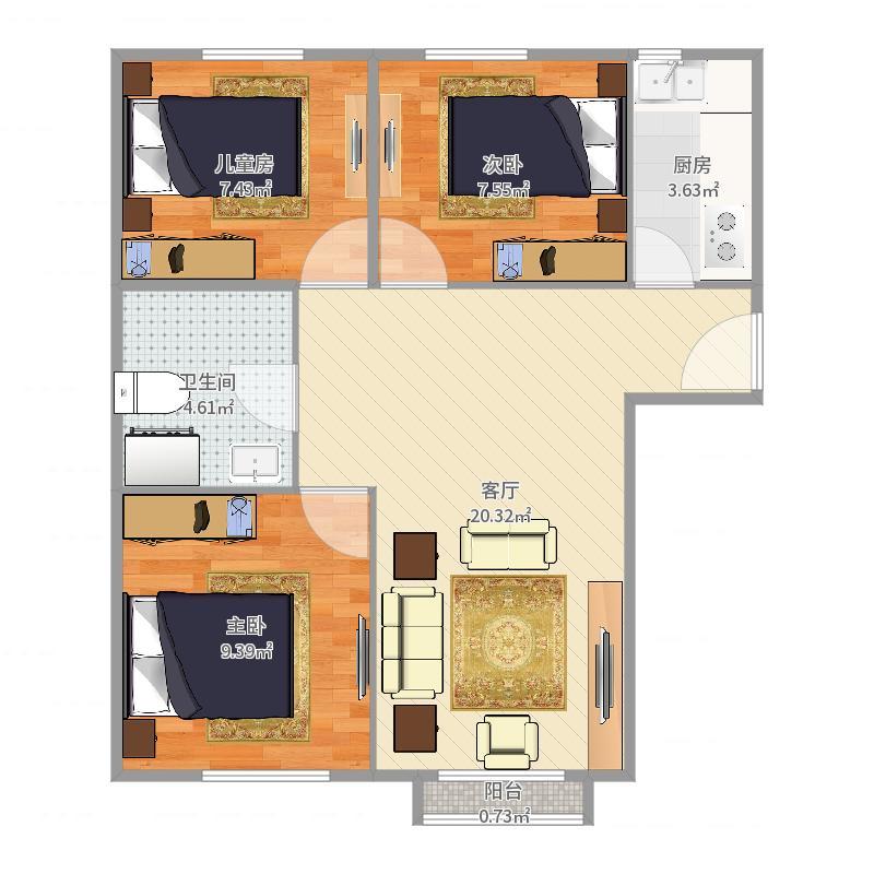 康宜家园I户型3室1厅1卫1厨-副本户型图