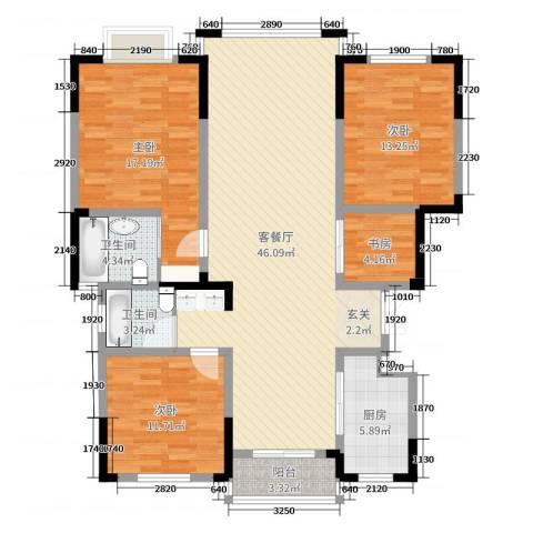 七里香庭4室2厅2卫1厨136.00㎡户型图