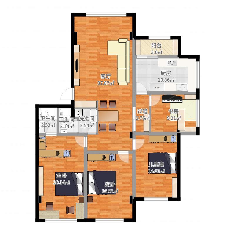 实际室内面积(详细)-实施方案20170919户型图