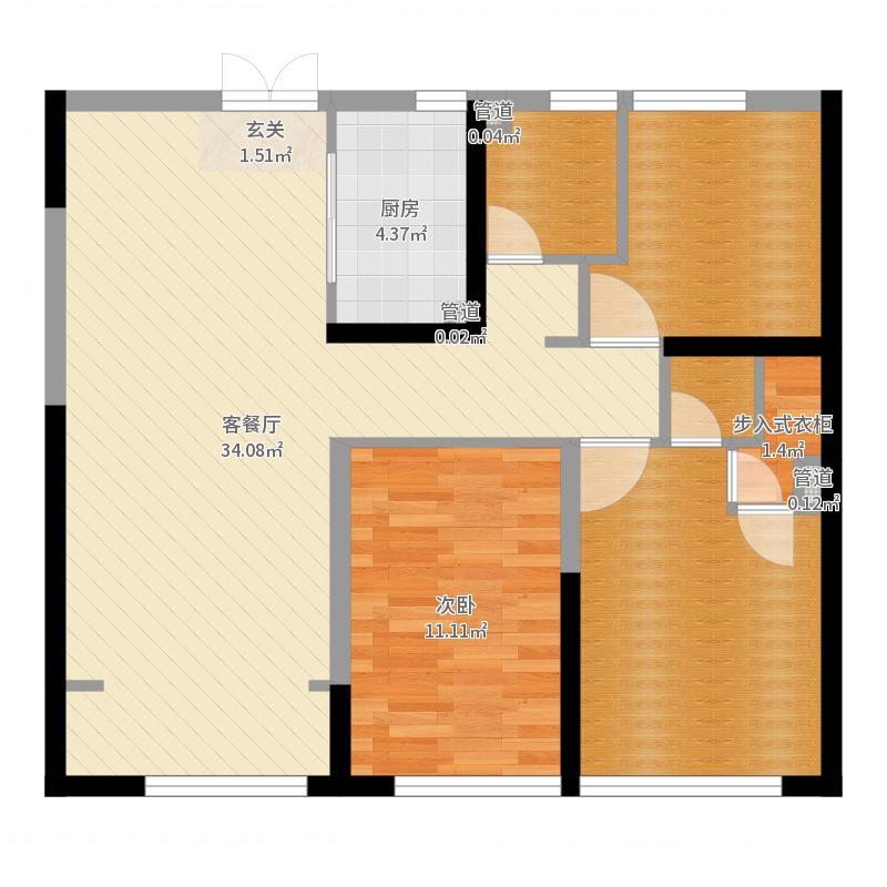 润景・园著113.00㎡10#B2户型3室3厅2卫1厨-副本户型图