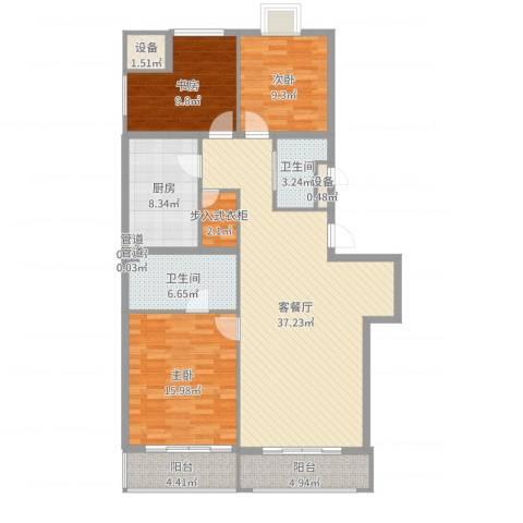 山水文园一期3室2厅2卫1厨130.00㎡户型图