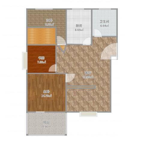 重庆公馆3室1厅1卫1厨118.00㎡户型图