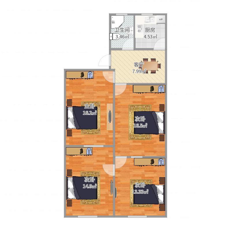 杨园二村新跃路154弄13号楼101号房户型图