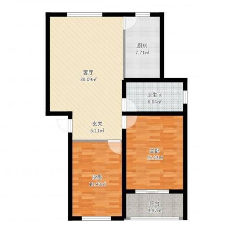 青青花园2室1厅1卫1厨97.00㎡户型图