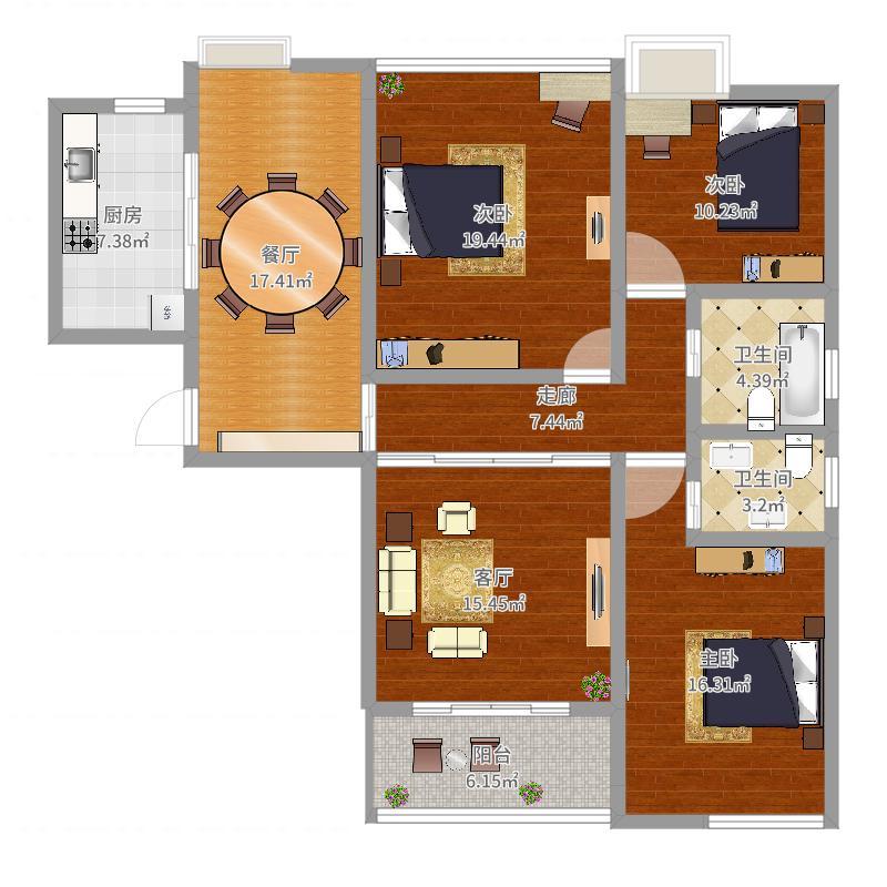 139平方中型房-1-副本户型图