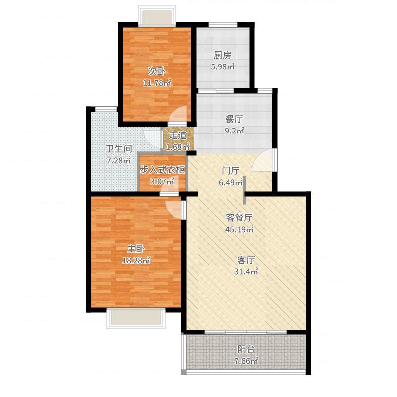 小上海新城B户型2室1厅1卫1厨-副本-副本户型图