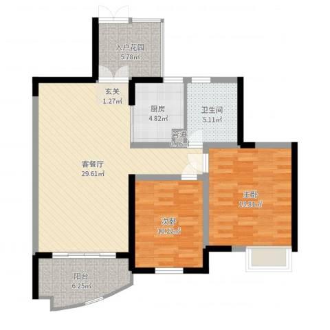 世纪城龙锦苑2室2厅1卫1厨95.00㎡户型图