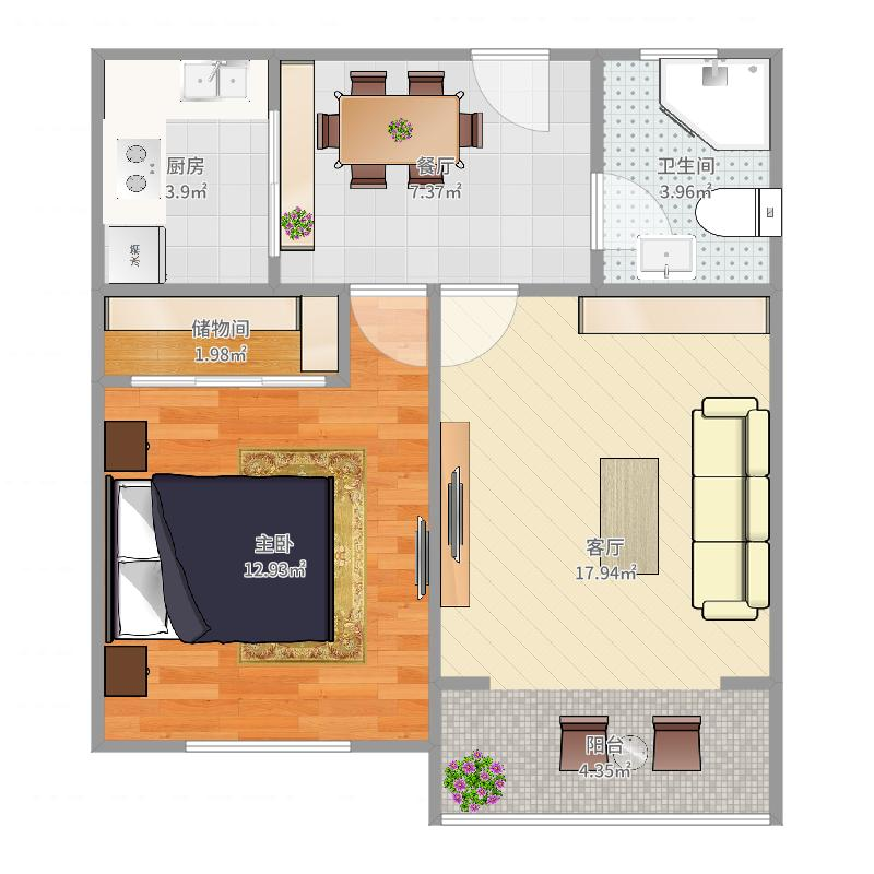 上影公寓02室两房户型图