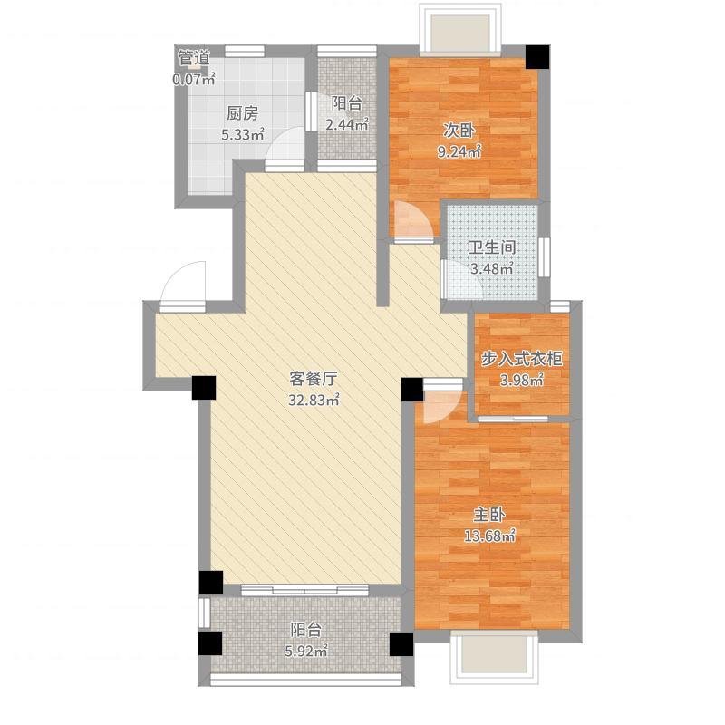 旺旺家缘110.00㎡旺旺家缘户型图h-22室2厅2卫1厨户型2室2厅2卫1厨户型图