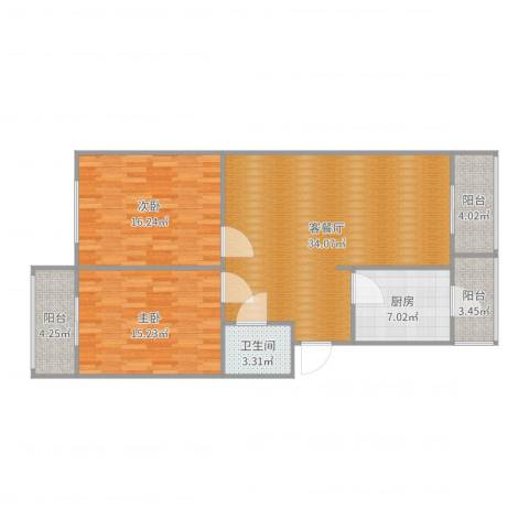 正东公寓2室2厅1卫1厨109.00㎡户型图