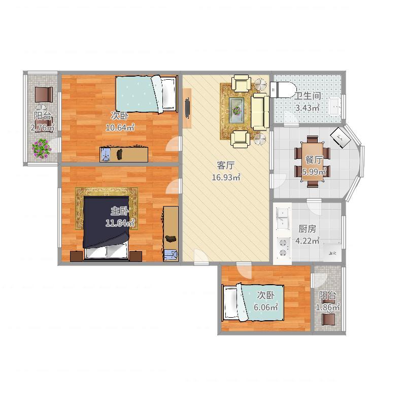 平阳公寓6-2-301户型图