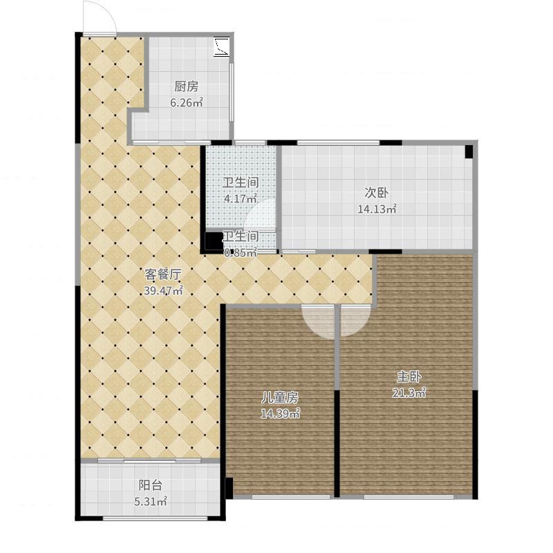 路劲城市主场101.00㎡4#楼A3户型101平米户型3室2厅2卫户型图