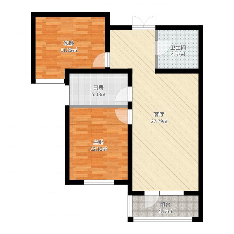 紫晶悦城93.84㎡9-6号楼B2户型2室2厅1卫-副本户型图