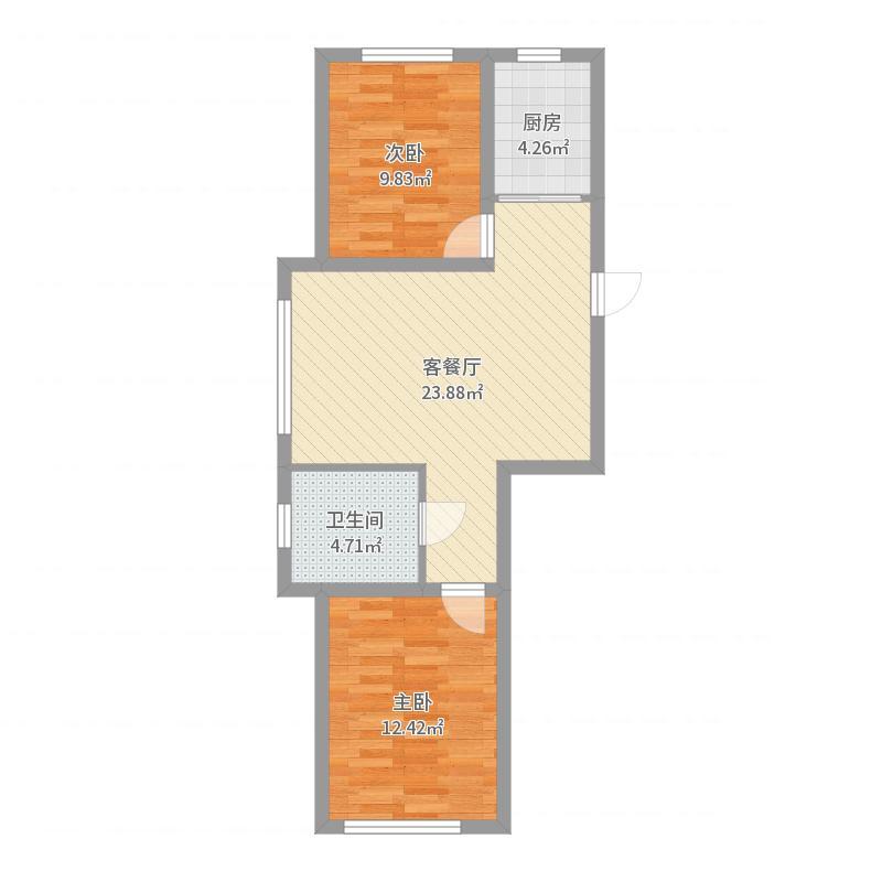 雷凯铂院80.33㎡A1户型2室2厅1卫1厨户型图