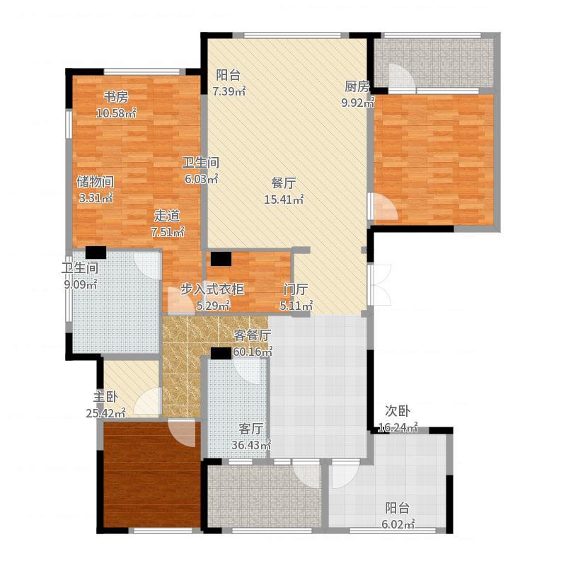 绿城玉兰花园175.06㎡二期观山苑C8户型3室2厅2卫-副本户型图