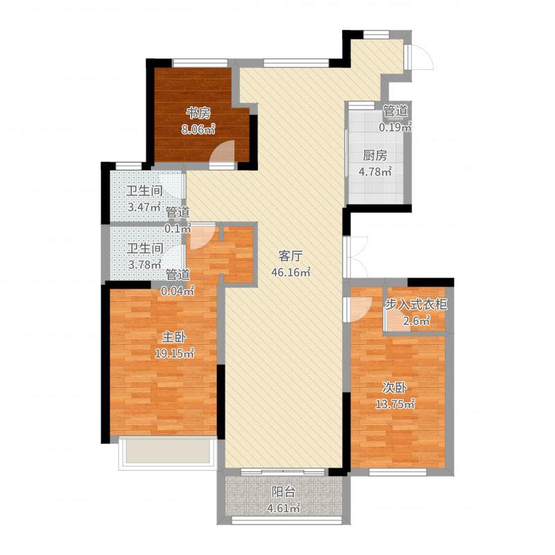 绿地卢浮公馆131.00㎡C2反户型3室3厅2卫1厨-副本户型图