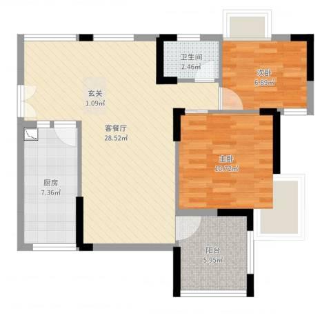 皓晖香雨蓝苑二期2室2厅1卫1厨77.00㎡户型图
