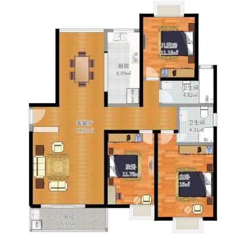 阳光嘉苑3室2厅2卫1厨131.00㎡户型图