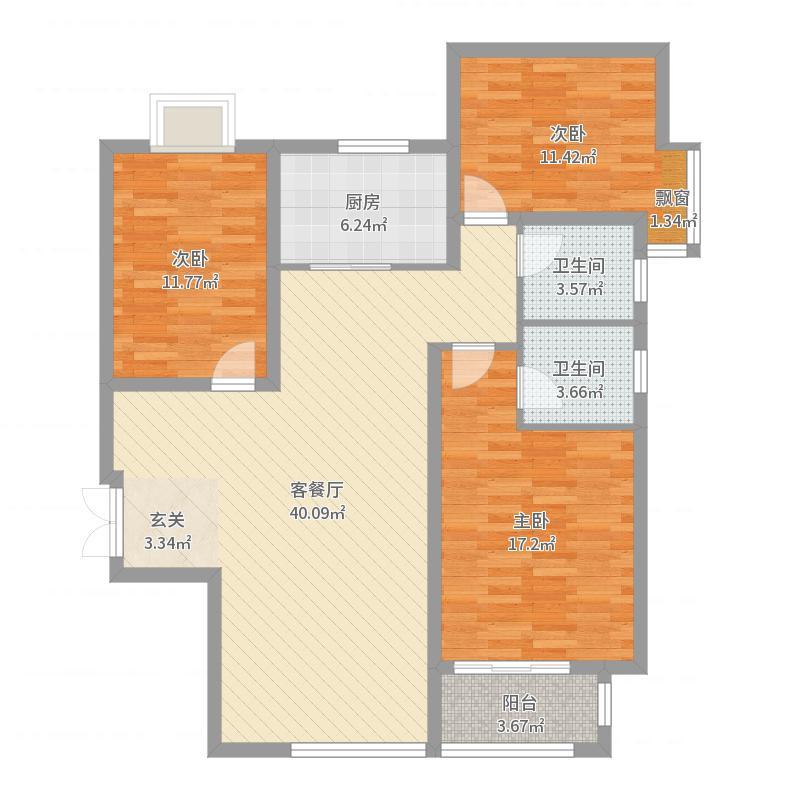 龙溪城121.53㎡19#标准层A户型3室3厅2卫1厨户型图