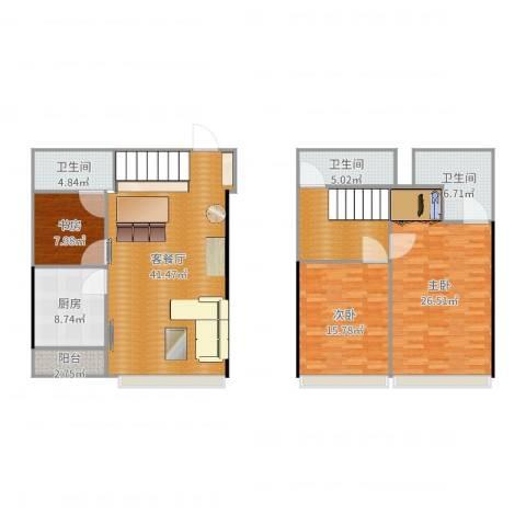 国利大厦复式3室2厅3卫1厨162.00㎡户型图