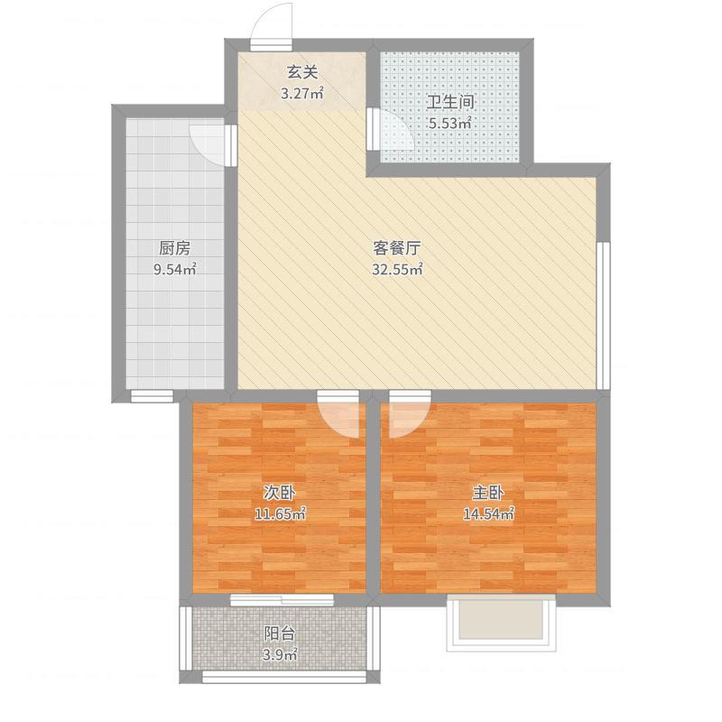 望景苑97.13㎡8-B户型2室2厅1卫1厨-副本户型图