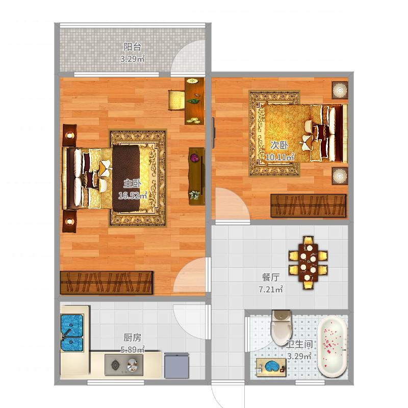 虹梅小区双南两房户型图