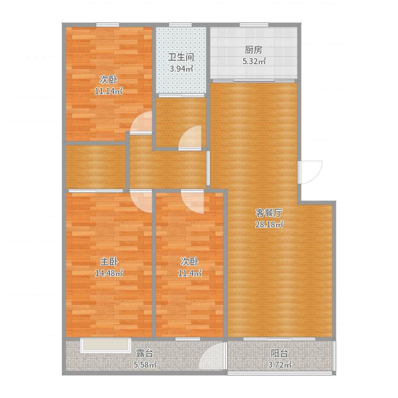 3室2厅户型图