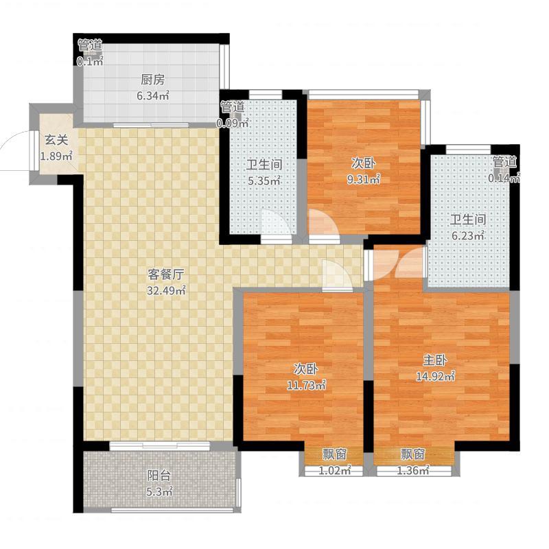 华润幸福里115.00㎡一期1-6幢标准层C1户型3室3厅2卫1厨-副本户型图
