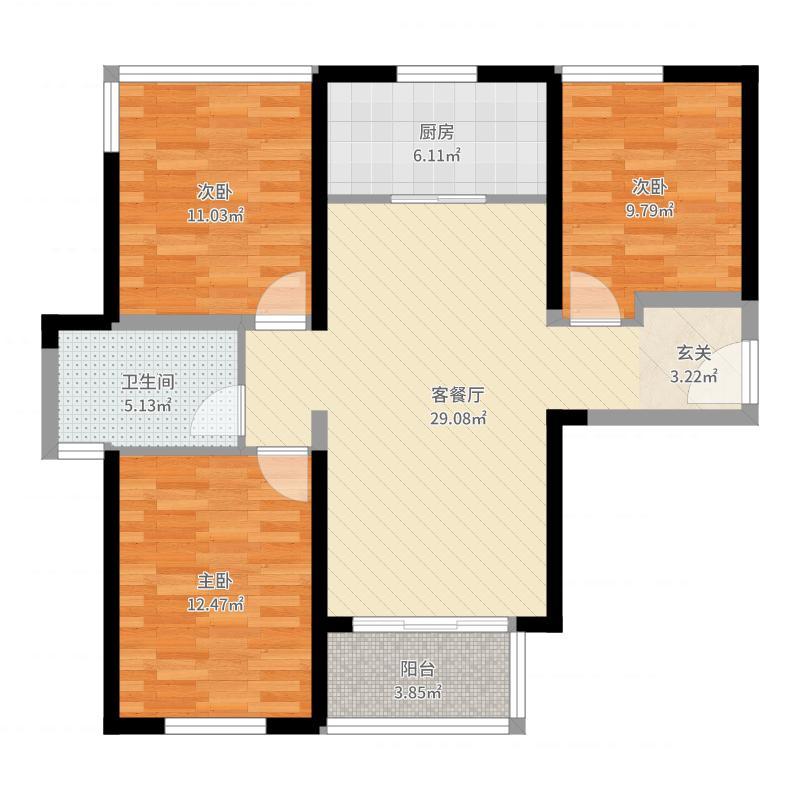 中航国际社区项目95.00㎡一期标准栋标准层A1户型3室3厅1卫1厨户型图