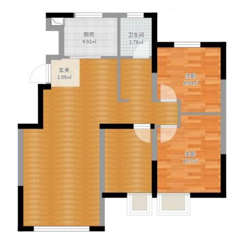 保利诺丁山天津2室0厅1卫1厨86.00㎡户型图